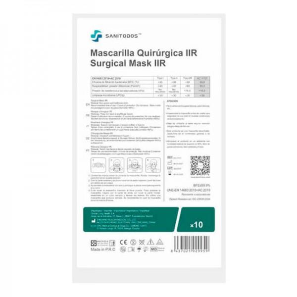 La siguiente fotografía muestra a una modelo portando una mascarilla quirúrgica de tipo IIR azul marino.
